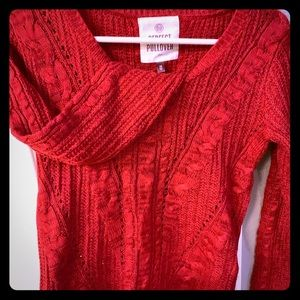 Red knit super soft slouchy sweater